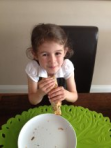 sophia pleased with her pancake