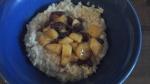 Gluten free, dairy free breakfasts. Option 13 – porridge, with warm fruit salad