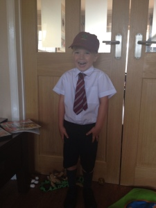 The start of a new adventure - first day at school. Just a bit excited!